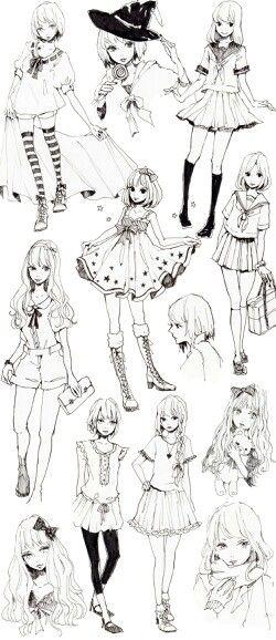 Little Asian Esque Girls Super Cute Manga Clothes Manga Drawing Character Design