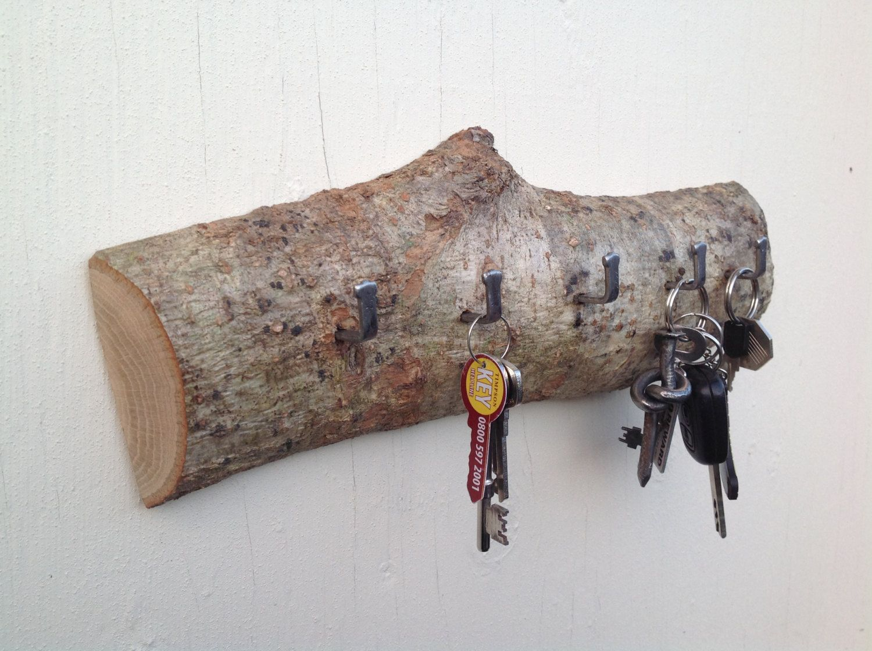 Oak Branch Key Rack. Wall Plaque with hooks. Oak branch with hooks for keys.  Unique key holder for the home. Traditional rack for house keys
