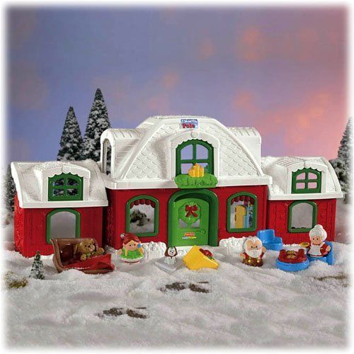 Fisher Price Little People Christmas Santa Claus North Pole cottage house shop