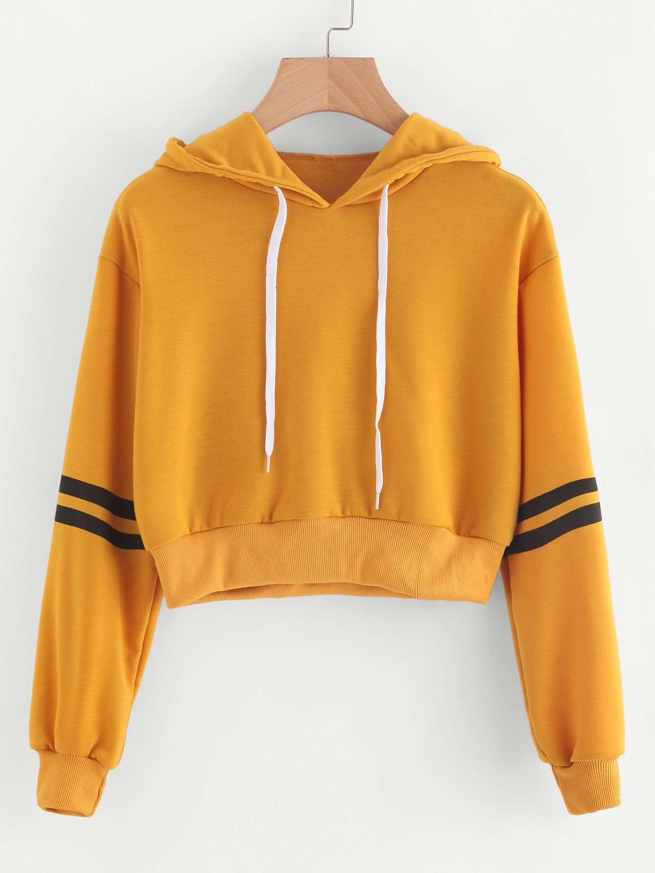 2793cac3489e Yellow Drawstring Crop Varsity Striped Hoodie in 2019