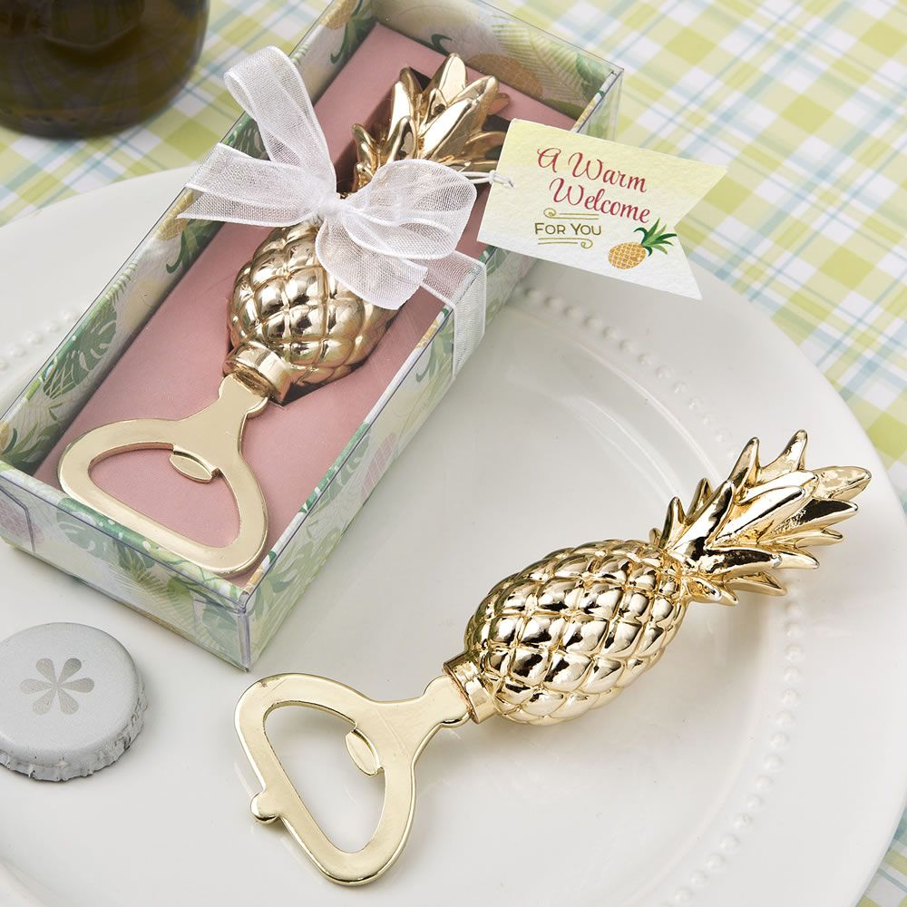 Warm Welcome Gold Pineapple Themed Bottle Opener | Favors, Wedding ...
