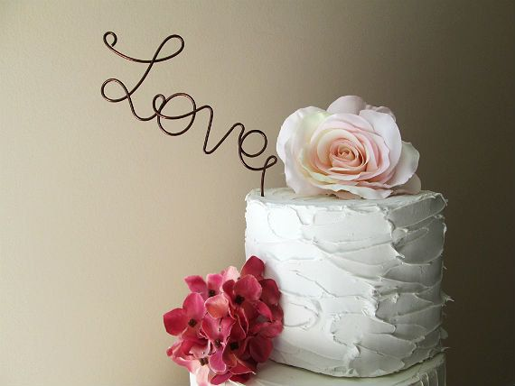 LOVE Cake Topper  Vintage Wedding  Shabby Chic Wedding by AntoArts, $20.00