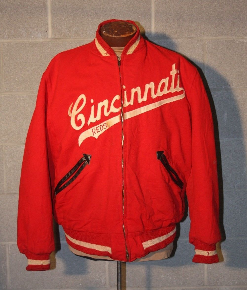 VINTAGE CINCINNATI REDS GAME USED WORN WARM UP BASEBALL JACKET ...