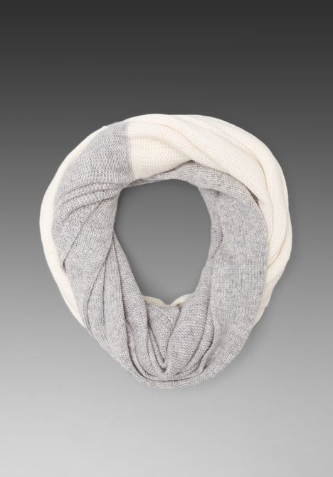 VINCE Colorblock Loop Scarf in Ivory & Light Grey - New