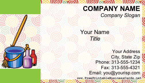 Brightly colored cleaning supplies are displayed on this business card, which has a swirl pattern in the background. Appropriate for a housekeeper, cleaning company, or janitorial firm. Free to download and print