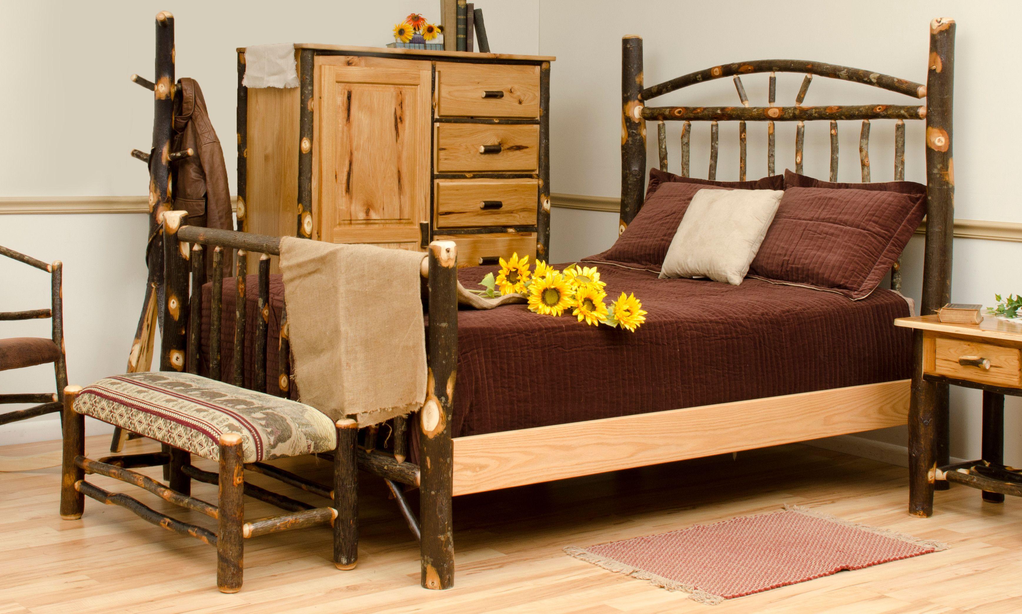 Rustic interior bedroom furniture hickory log and oak