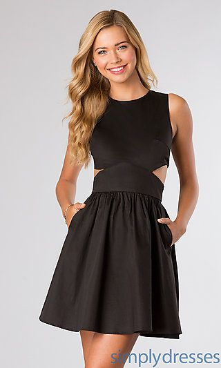 Short Black Sleeveless Dress with Cut Out Sides and POCKETS!! I need this dress! SimplyDresses.com $148.00 #blacksleevelessdress