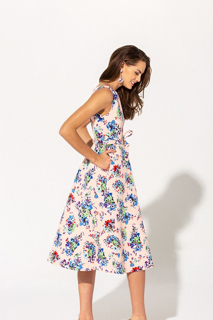 1420adc07 Vestido lady Primavera Verano 2019 TERIA YABAR de mikado estampado ...