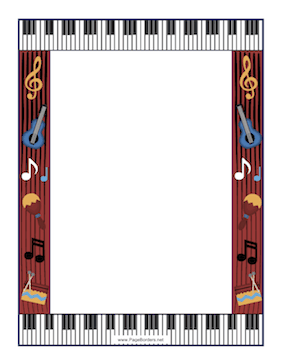 This Music Border Is Built Around A Musical Motif With Keyboard Musical Notes Guitar Maracas And Percussion This W Music Border Border Design Page Borders
