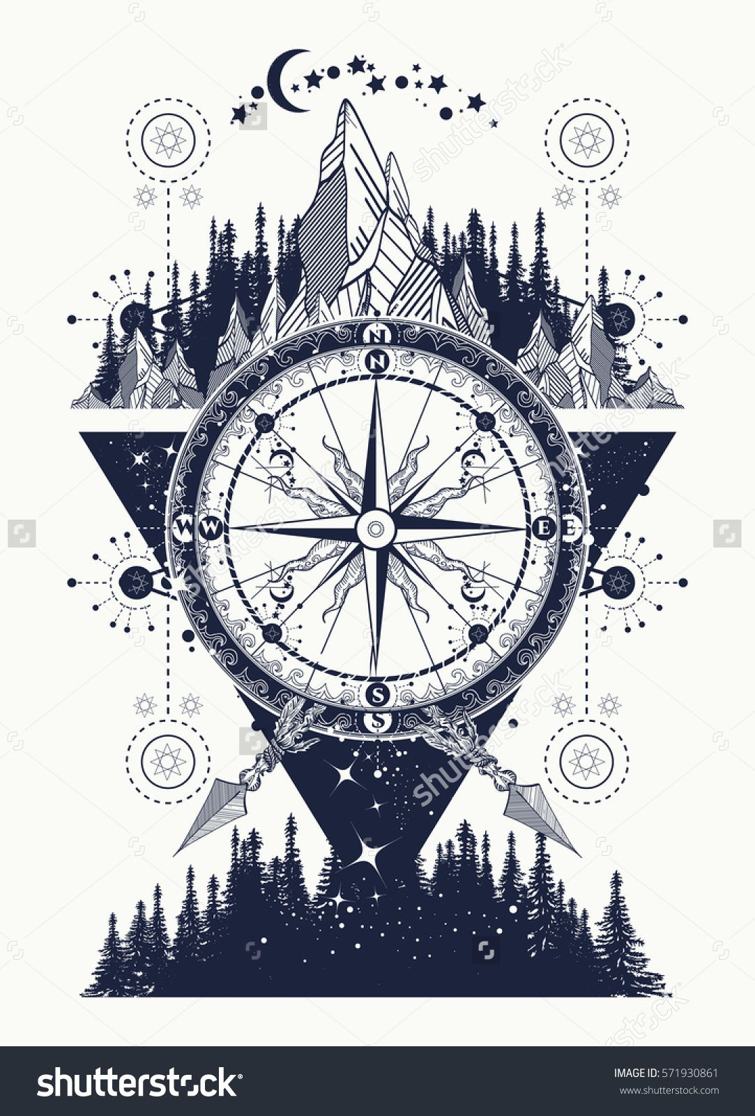 Mountains And Antique Compass Tattoo Art Adventure Travel