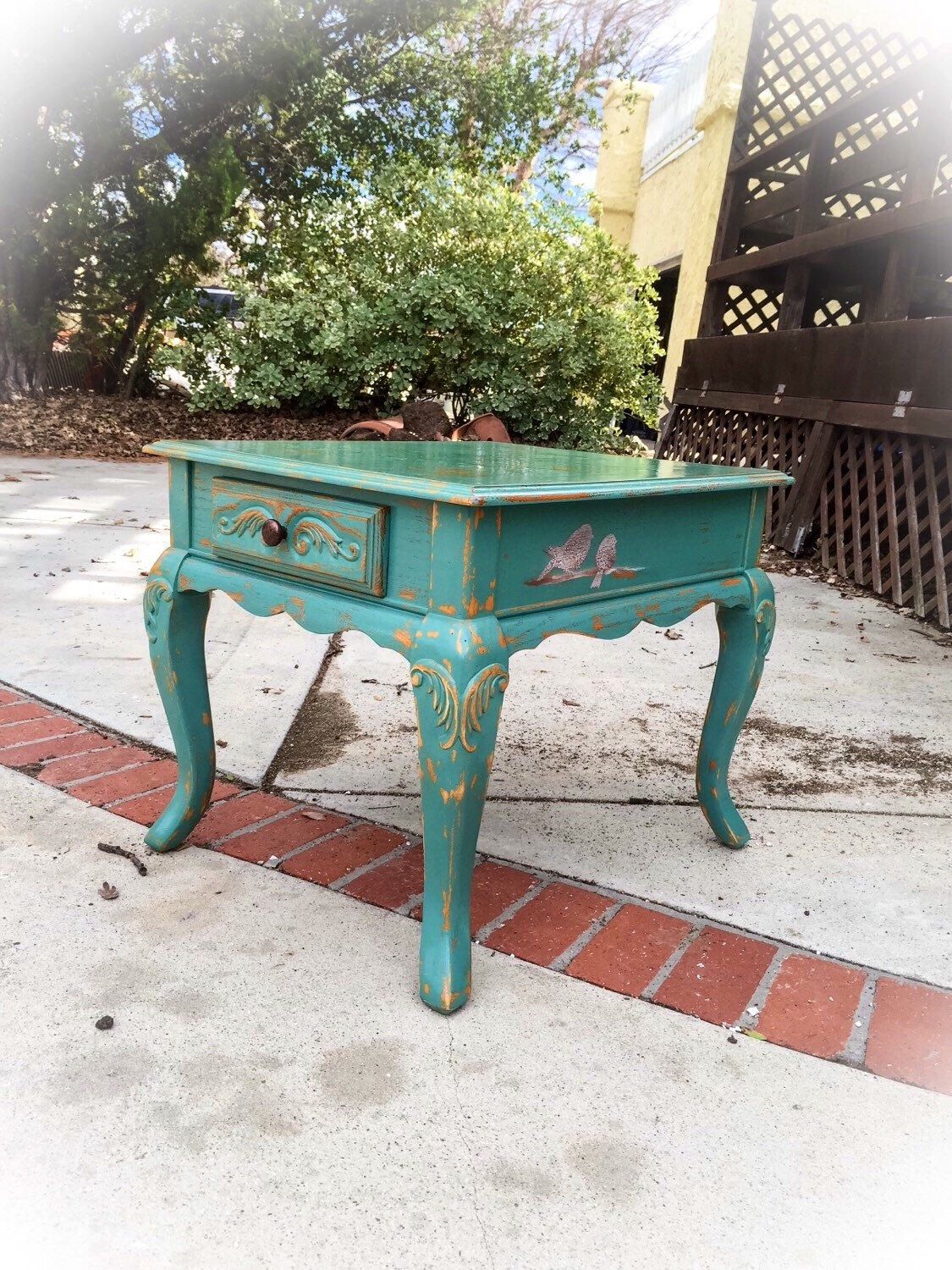 Shabby Chic Table, Antique, Seafoam Green, Table, W/ Bird Accents,