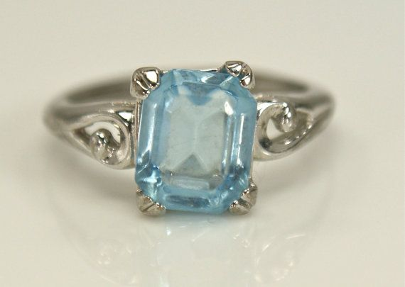 Vintage Silver Avon Ring Blue Glass by EarlyBirdJewels on Etsy, $10.00