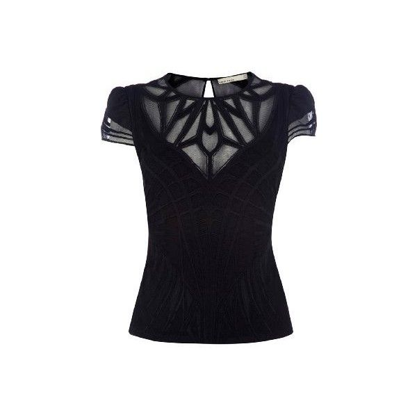 Karen Millen Geometric Embroidery Top (265 CAD) ❤ liked on Polyvore featuring tops, blouses, shirts, see through blouse, blue top, short sleeve blouse, blue blouse and blue shirt