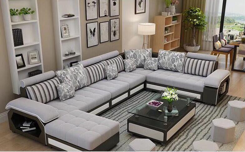 Fabric U Shaped Sectional Sofa Modern