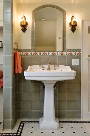 Pedestal Sink And Built In Medecine Cabinet · 1920s BathroomRetro ...