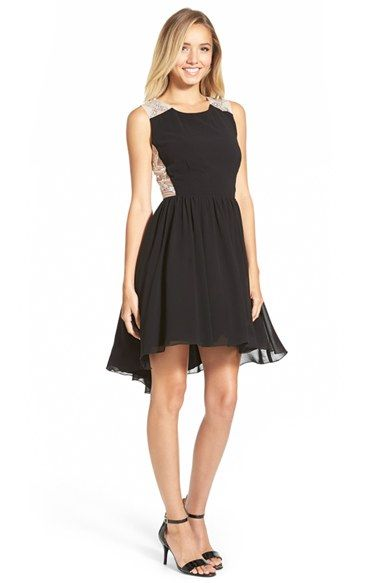 3c2e2fede81 Way-In Illusion Embellished V-Back Skater Dress