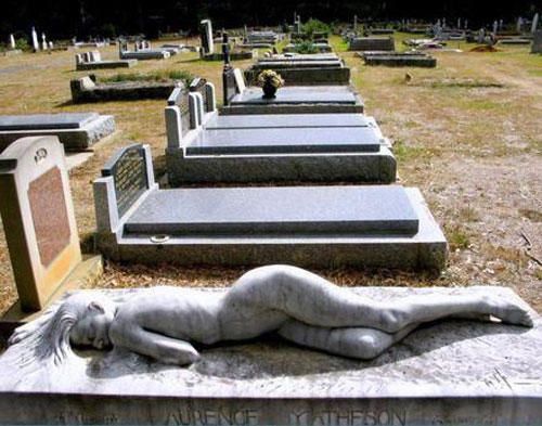 """This beautiful sculpture is called """"Asleep"""" and was created by artist Peter Shipperheyn upon request by Mr. Matheson's widow. For a story of how he knew Laurence Matheson and came to create the sculpture. Mount Macedon Cemetery  Mount Macedon Victoria, Australia  http://www.peterschipperheyn.com/asleep.htm"""