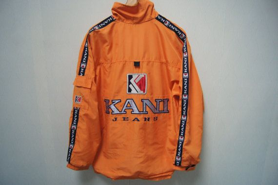 Super Vintage KARL KANI Big Logo Windbreaker Jacket Crewneck Kani Sport  MA29