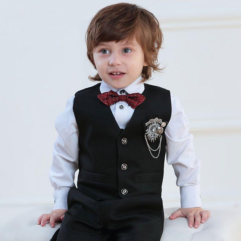 Barn Smoking / Vest Dress / Ytelse Klaer / Sma Dresser Satt / Ring Baerer Drakter