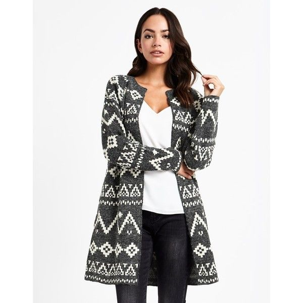 Society 8 Aztec Coatigan ($46) ❤ liked on Polyvore featuring tops, cardigans, white cardigan, aztec print cardigan, aztec top, cardigan jacket and lipsy