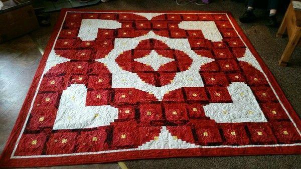Wedding Quilt Log Cabin Hearts Pattern By Quiltfox Design Judit