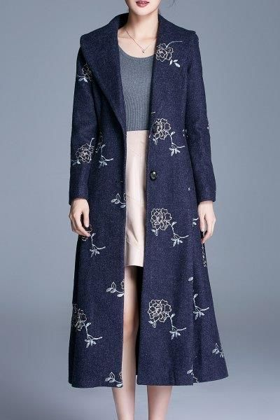 Single Breasted Floral Embroidered Coat