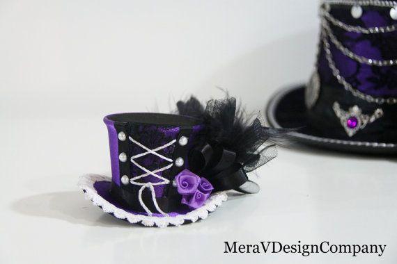 Tiny Mini Top Hat, Black Purple Steampunk Mad Hatter ...