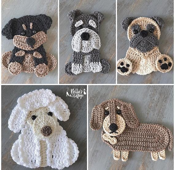 Crochet Pattern  INSTANT PDF DOWNLOAD  Crochet Puppies  Crochet  Dog  Puppy  Rottweiler  Dachschund  Poodle  Pug  Schnauzer  Dogs