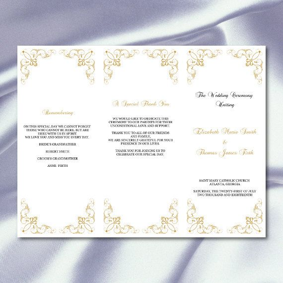 Diy Elegant Tri Fold Gold Wedding Programs Template Comes As An Editable And High Quality