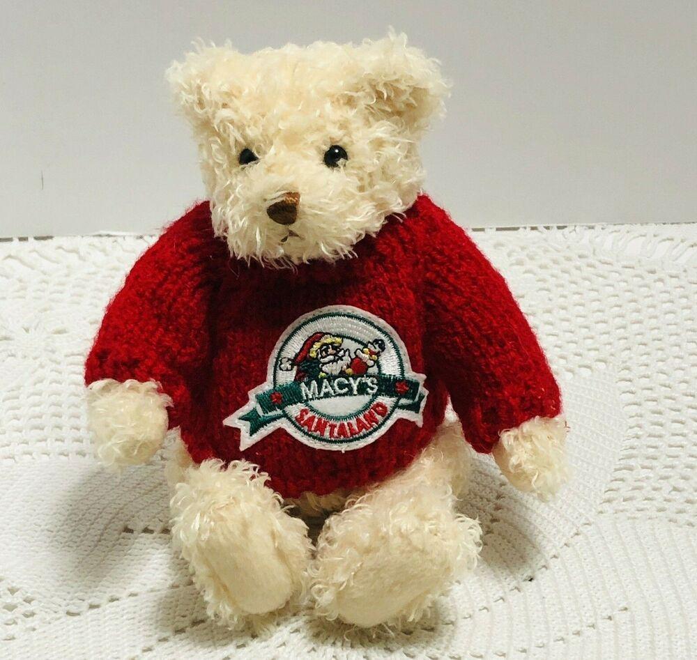 Macys 2020 Christmas Stuffed Animal Macy's Christmas Plush Teddy Bear With Sweater Santaland Gund 2002