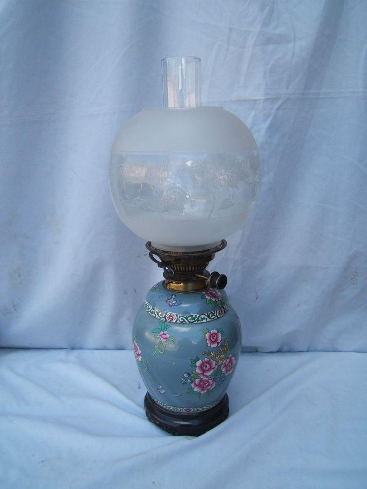 Oil Lamp Vintage Messenger S No 2 Key Lift Ceramic Base Clear Globe Shade Ol34 Oil Lamps Ceramic Base Antique Lamps