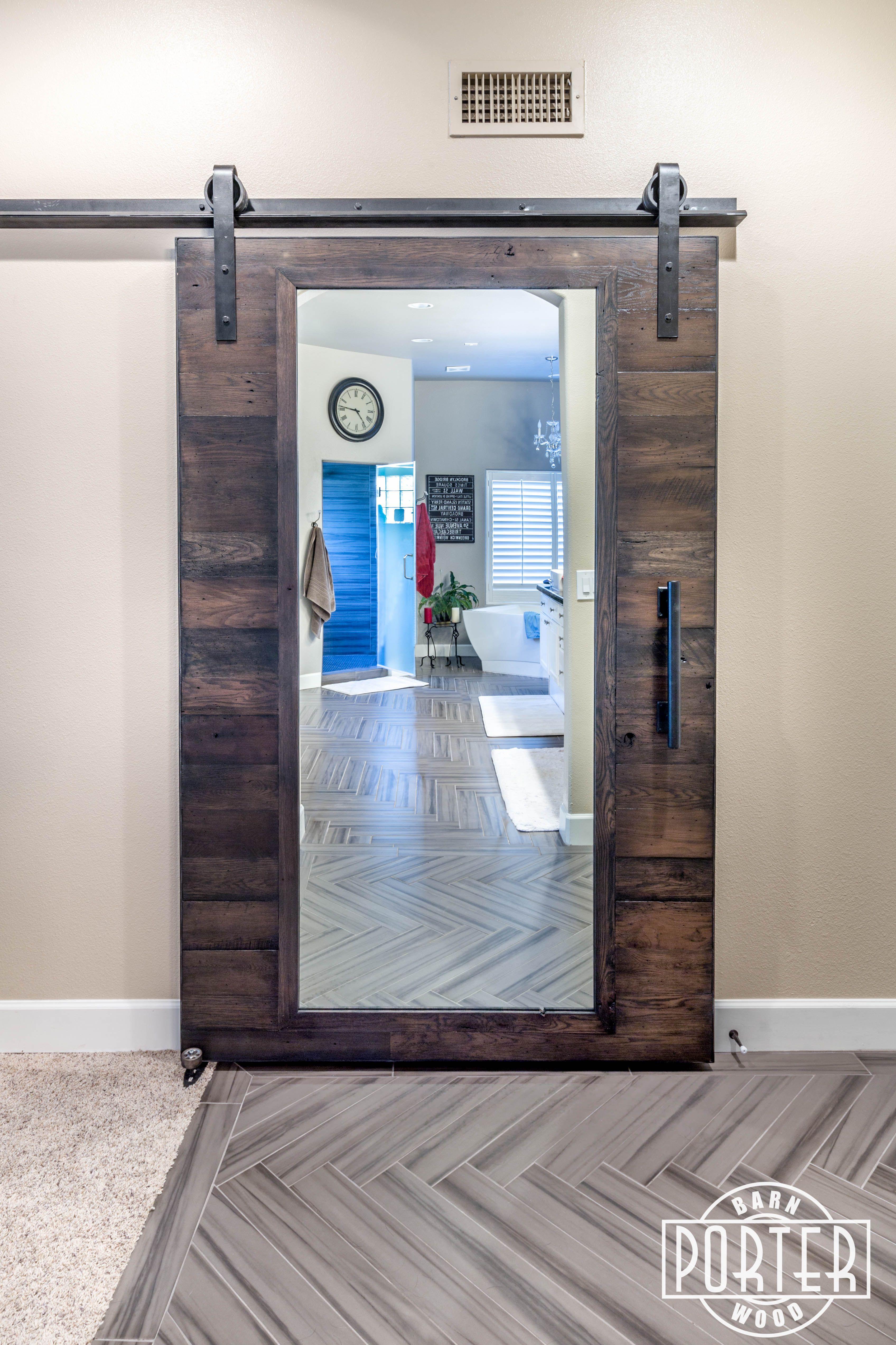 Wonderful Custom Oak Sliding Mirrored Barn Door Is Made From Our Reclaimed U201cSpeckled  Blacku201d Materials