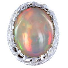 Important Alluring Crystal Opal Diamond Ring