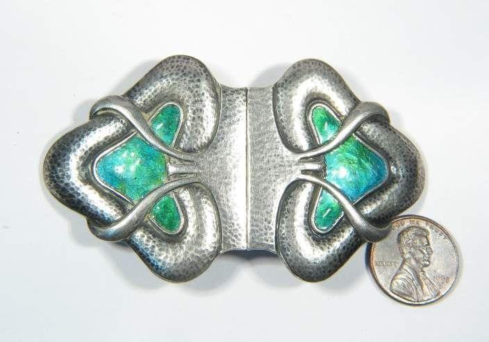 Art Nouveau/art Deco 1895-1935 Antiques Antique English Art Nouveau 1907 Sterling Silver Enamel Sash Buckle