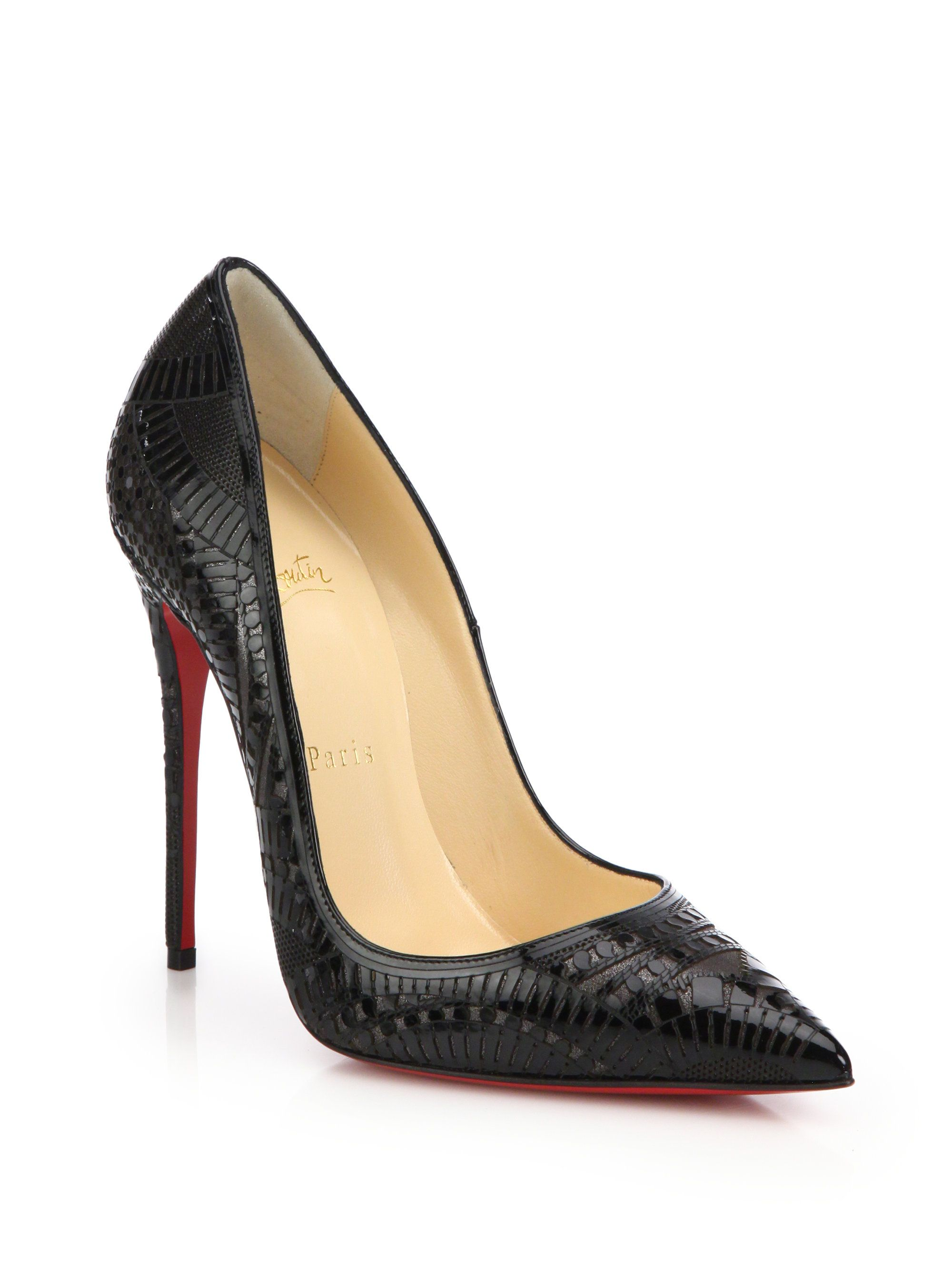 a68f7614a2ca ... promo code for christian louboutin black kristali laser cut patent  leather pumps lyst 6c32d 78cc2 ...