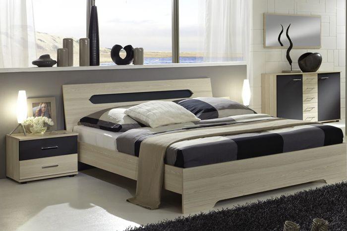 BALU Futonbett / Doppelbett Weiss,Anthrazit 160 x 200