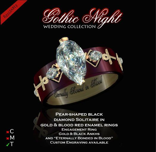 second life marketplace exquisite gothic night engagement ring - Gothic Wedding Rings