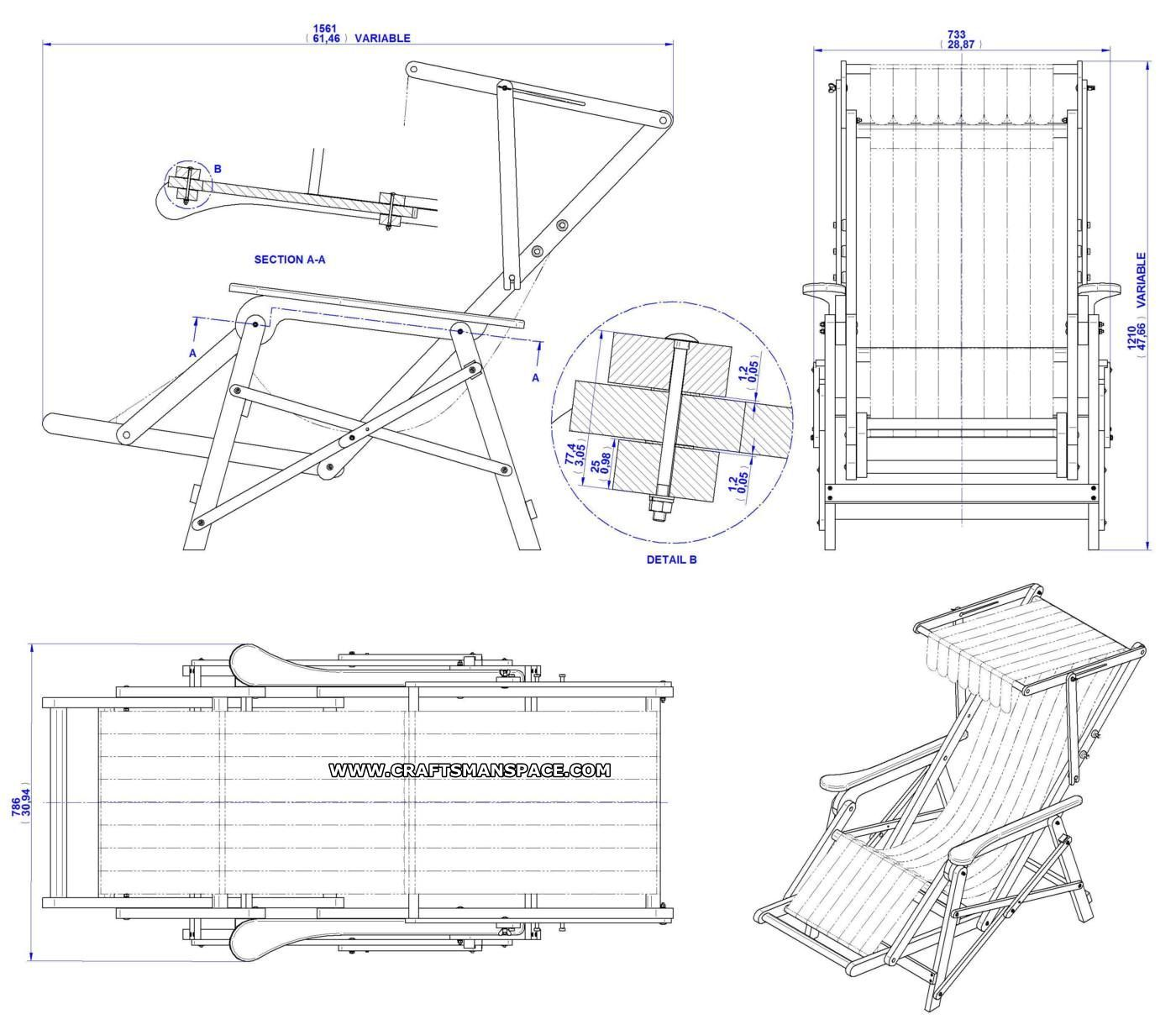 Lounge chair top view drawing - Beach Chair Plan Assembly Drawing