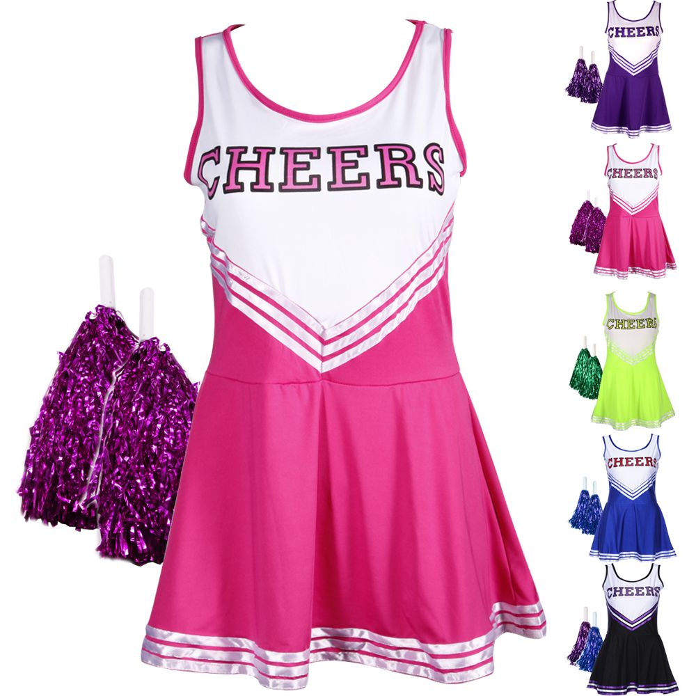 Small Pink School Girl Cheerleader Football Basketball Pom Pom Fancy Dress New