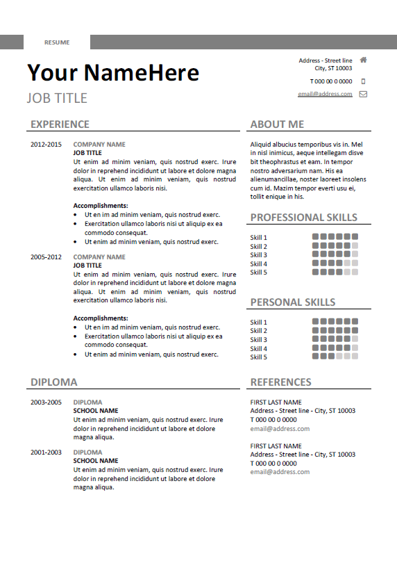 free clean and simple resume template for word docx gray - Free Simple Resume Template