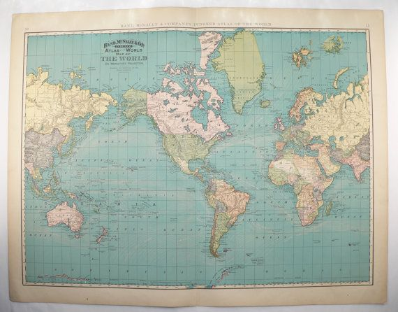 Very large world map 1898 vintage map of the world western very large world map 1898 vintage map of the world western hemisphere map unique gift for traveler office art decor gift for coworker gumiabroncs Choice Image