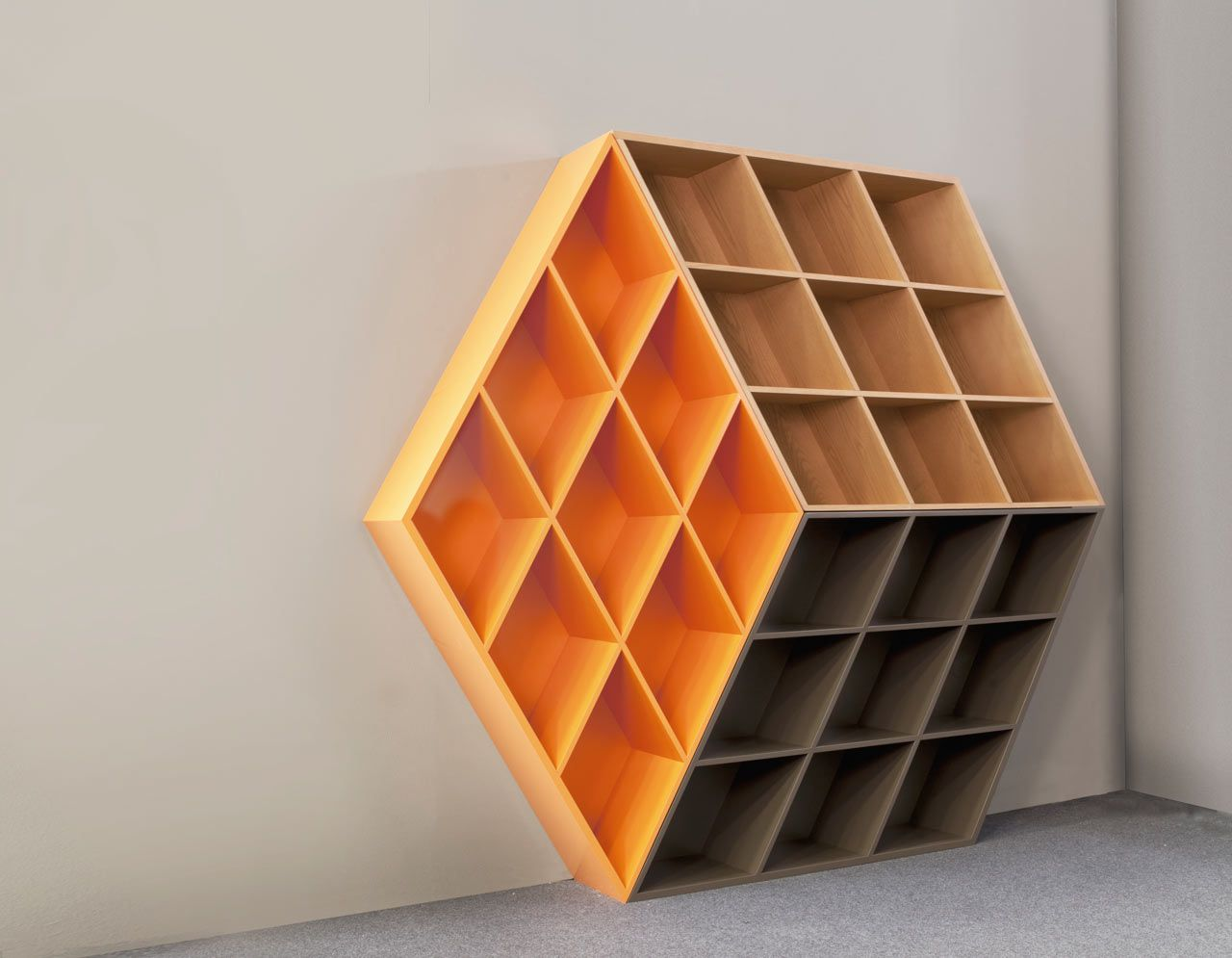 a wooden bookcase inspiredthe rubik's cube | cube design