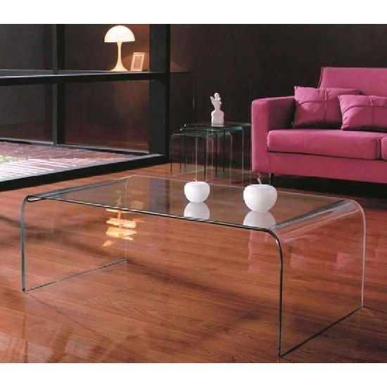 Bon Cascade Clear Bent Glass Coffee Table, 2402030