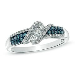 1/3 CT. T.W. Enhanced Blue and White Diamond Three Stone Slant Ring in 10K White Gold - Size 7