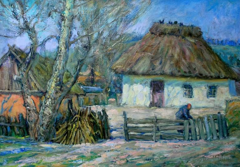 Buy Old house, a Oil on Cardboard by Victor Mishurovskiy from Ukraine. It portrays: Architecture, relevant to: blue, spring, tree, white, woman, grey, home, house Traditional Ukrainian manor.