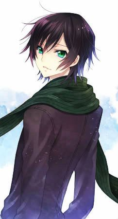 Anime guy with black hair and green eyes