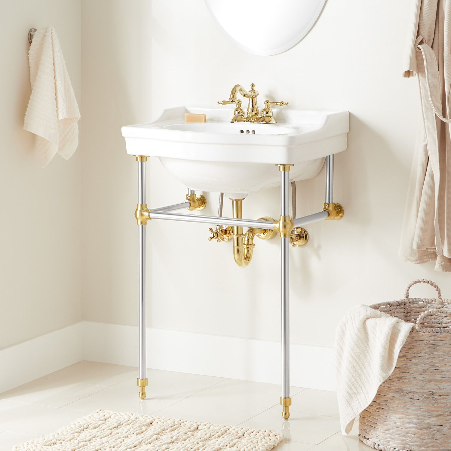 An Ideal Choice For Small Bathrooms The Cierra Console Sink Features Slender Legs To Supports Its Stylish Traditi In 2020 Console Sink Bathroom Console Brass Bathroom
