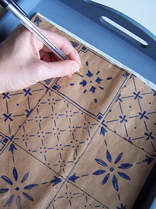 Vassoio decor con piastrelle disegnate my portfolio diy for Tele d arredo