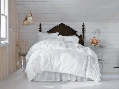 Camere Shabby Chic Foto : Simply shabby chic white pieced meshed lace king duvet and shams set