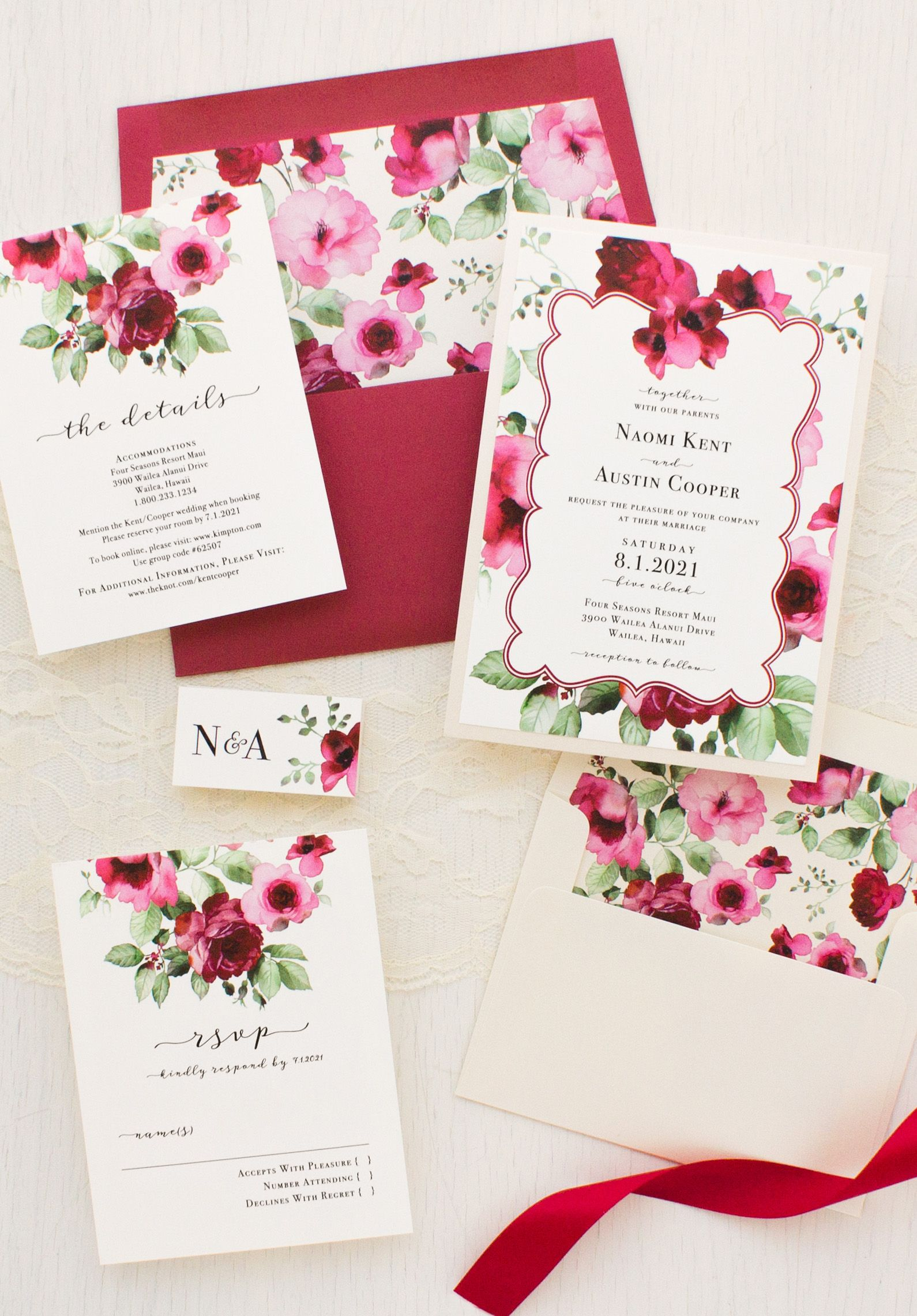 Cranberry Crush Wedding Invitations | Invitation design, Floral ...